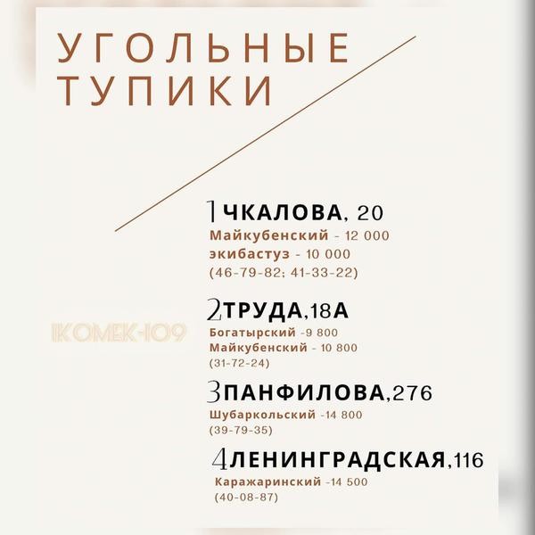 Информация по угольным тупикам в г.Петропавловске